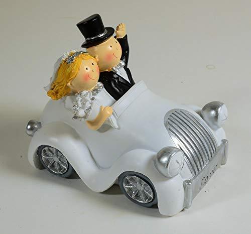E+N Spar-Dose Spar-Büchse Geschenk-Idee Geldgeschenk Silber-Hochzeit Hochzeitspaar im Auto weiß/Silber