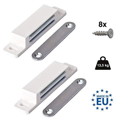 LouMaxx XXL Magnetschnäpper - Haltekraft 13kg - 2er Set in weiß Magnetverschluss - Magnetschloss - Türmagnet - Möbelmagnet - Magnet Schranktür - Magnet-Türschließer - Balkontürschnapper Magnetverschluss