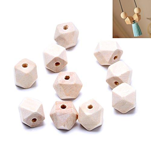 Lamdoo 100Holz Geometrische Natur unlackiert Jewelry Halskette Perlen für Making 20mm (Polnische Holz-möbel)