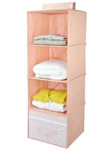 Hängende Kleider Storage Rack für Unterwäsche & Zubehör, 4 Regale & 1 Schublade, Rosa -