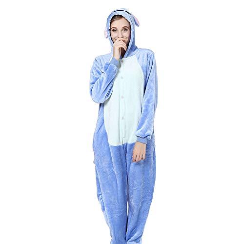 Timormode Combinaison Pyjama Animaux Unisexe Costume Cosplay Déguisement Animal à Capuche Polaire 10001Blue M