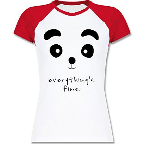 Shirtracer Eulen, Füchse & Co. - Panda Everything's Fine - Zweifarbiges Baseballshirt/Raglan T-Shirt für Damen Weiß/Rot
