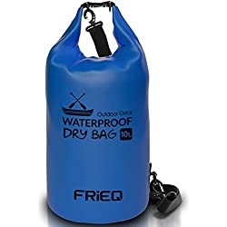 FRiEQ Livianas y Durables pack de bolsas secas para actividades al aire libre – Bolsa a prueba de agua garantizada – Perfecta para navegación / Kayak / Pesca / Rafting / Natación / Flotación / Camping – Protección de móviles / Cámaras / Vestimenta / Documentos del agua, arena, polvo y suciedad - 10L (Azul)