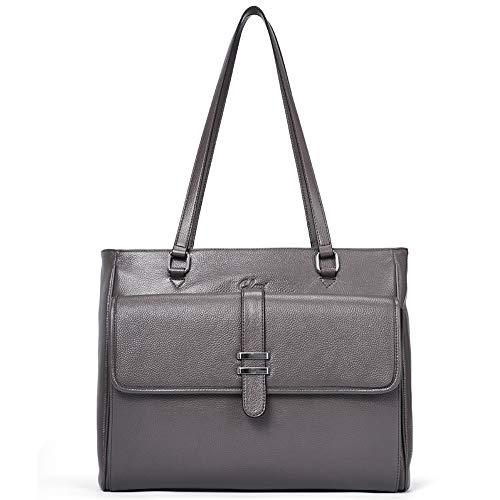 Damen-designer-laptop-tasche Tote (CLUCI Handtasche Damen Weich Echtes Leder Designer Laptoptaschen Groß Tote Umhängetasche für Frauen grau)