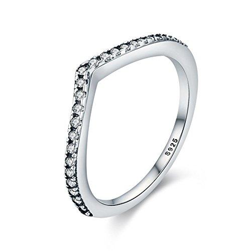 (Qings 925 Sterling Silber Ringe, Zirkonia CZ Hochzeit Versprechen Ewigkeit Ring mit simulierten Diamanten Geschenke Größen (52 (16.6)))