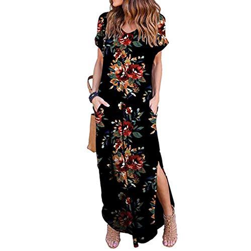 Kleider SANFASHION Maxikleid Damen Frauen V-Ausschnitt Fest Langarm lose Dress Strand Abendkleider (Der Mit S Wort Bedeutung)