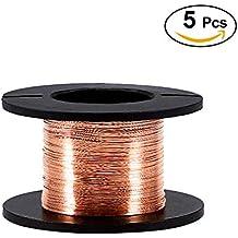 5pcs Alambre de cobre esmaltado, alambre esmaltado Reparación Diámetro del alambre 0.1 mm Longitud 15