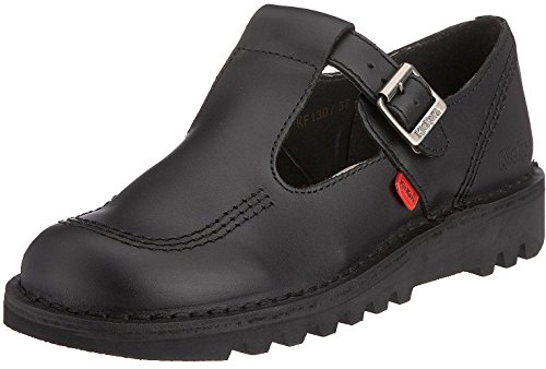 Kickers Kick Lo Aztec Black Leather Womens Mary Janes School Shoes-38
