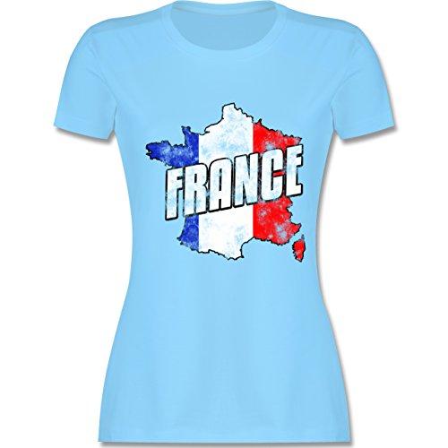 EM 2016 - Frankreich - France Umriss Vintage - tailliertes Premium T-Shirt  mit Rundhalsausschnitt