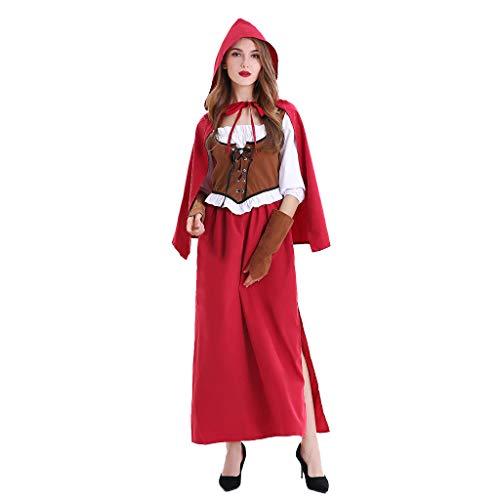 LOPILY Kostüme Damen Fairy Tale Charaktur Kostüme Damen Roter Umhang mit Maxikleid + Braune Weste Halloween Kostüme Damen Karneval Süße Kostüme Faschingskostüm (Rot, 32) (Übergröße Fairy Kostüm)