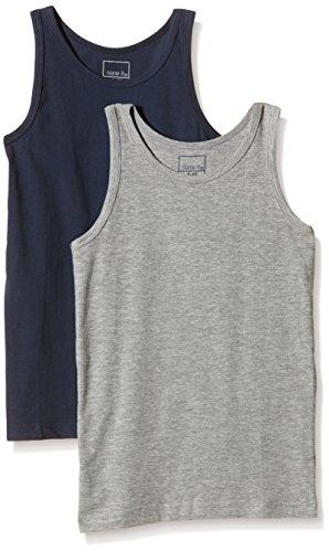 NAME IT Baby-Jungen Unterhemd NITTANK TOP K B NOOS, 2er Pack, Gestreift, Gr. 116 (Herstellergröße: 110-116), Mehrfarbig (Grey Melange)