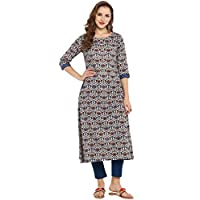 Janasya Indian Tunic Tops Cotton Kurti Set for Women (SET007-KR-NP-XL)