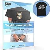 A4 Transferfolie für DUNKLE Stoffe und Laserdrucker, Transferpapier/Bügelfolie zum Bedrucken und Aufbügeln auf T Shirts und versch. Textilien (8 Blatt)