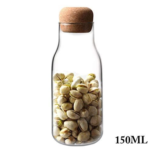 Justdolife Glasflasche Klar Hitzebeständige Milch Saftflasche mit Holzstopfen (Flaschenverschlüsse Glas Milch)