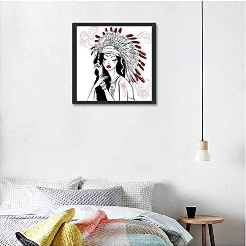 Jwqing Chica de Moda de Estilo Egipcio Cuadro de Pared para el hogar Sala de Estar Lienzo Decorativo Lámina de póster Pinturas Decoración de la habitación de la niña (60x60cm Sin Marco)