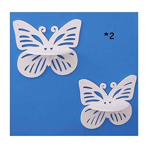Lq mensola a muro, 2pcs farfalla titolare di stoccaggio decorativo a parete con ganci in legno per soggiorno camera da letto mensole pensili (colore : bianca)