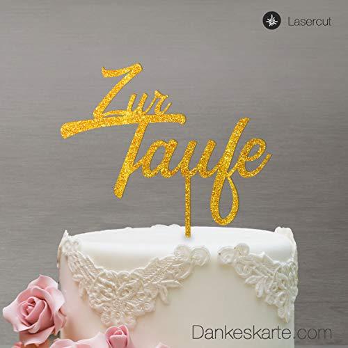 Dankeskarte.com Cake Topper Zur Taufe Zweizeilig - für die Tauftorte - Gold-Glitzer - XL