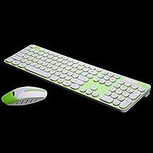 LN Silencio teclado inalámbrico ratón conjunto portátil de escritorio teclado de teclado del ordenador conjunto , green