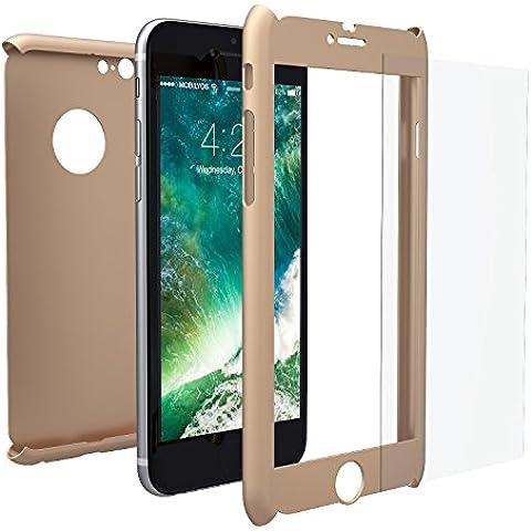 Funda iPhone 6s PLUS Integral Para Ambas Caras + Protector de Pantalla de Vidrio Templado, Mobilyos® [ 360 ° ] [ Oro ] Case / Cover / Carcasa iPhone 6s PLUS / 6 PLUS