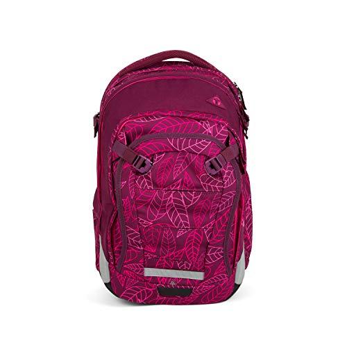 Satch Match, Purple Leaves ergonomischer Schulrucksack, erweiterbar auf 35 Liter, extra Fronttasche