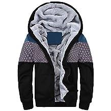 Sweatshirts túnica Suelto Slim Fit cárdigan Sudadera con Capucha para Hombre Invierno Cálido Vellón Cremallera Suéter