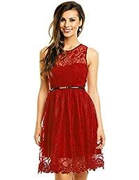 6ebb4cebd679 Mayaadi Kleid mit Gürtel Spitzen-Kleid Ball-Kleid Fest-Kleid Abend-Kleid