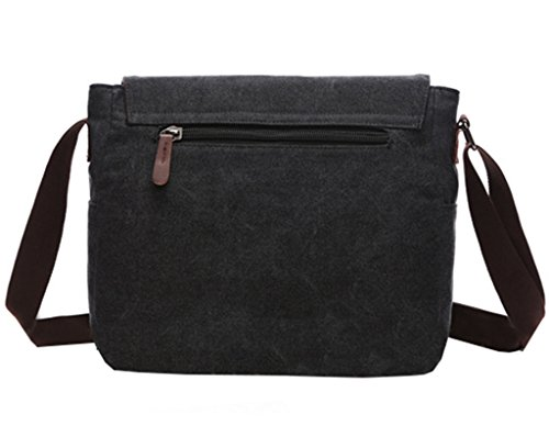 Super Modern Vintage-Canvas-Schultertasche, leger, College-Bag, Laptop-Tasche (für 14 Zoll / 35,6cm), Schultasche aus Segeltuch/Canvas, Aktentasche, Umhängetasche Schwarz