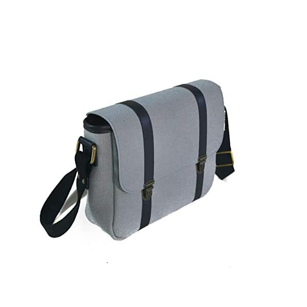 Handbag with shoulder strap; light blue fabric; eco-friendly cruelty free vegan - handmade-bags