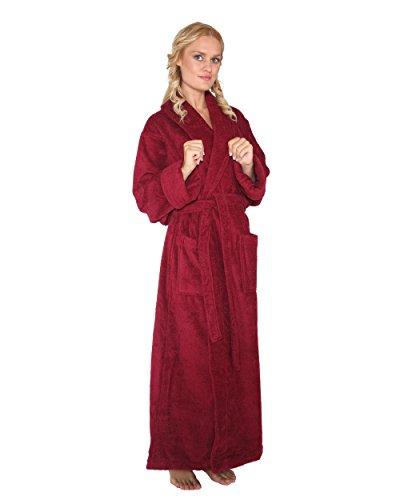 Optimal - Peignoir de bain en éponge un col châle extra-long pour femme/homme 100% Coton Tissu bouclette doux Robe de chambre Bordeaux