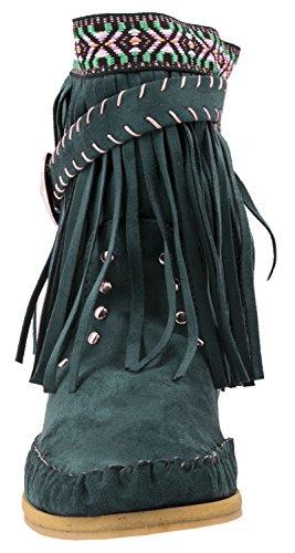 Elara Fransen Stiefeletten | Damen Indianer Style | Western Schnalle Hidden Wedge Blau