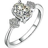 Daesar Damenring Versilbert Verlobungsring Antik Zirkonia Ring Strass Ring 3 Stone