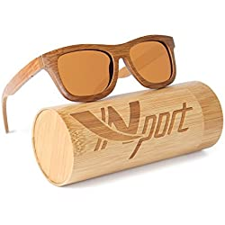 Ynport - Gafas de sol polarizadas para hombre/mujer, con revestimiento de madera clásica de carbón de bambú, estilo vintage wayfarer flotante, marrón oscuro