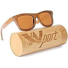 Ynport Crefreak - Lunettes de soleil - En bois de bambou véritable - Poids plume - Homme - Femme , Homme, Orange, taille unique