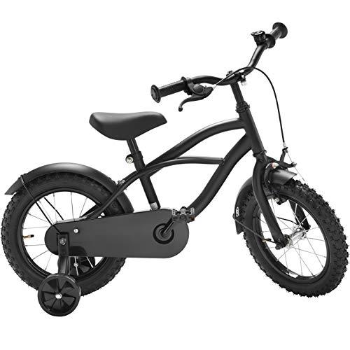 fahrrad schwarz matt Black Cruiser 12 Zoll Fahrrad schwarz matt Kinderfahrrad Stützräder Jungen 1201G