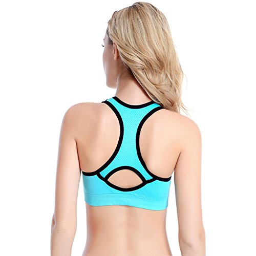 Brightup Femmes Sport Yoga couverture complète Soutien-gorge Rembourré Extensible Tops Bleu