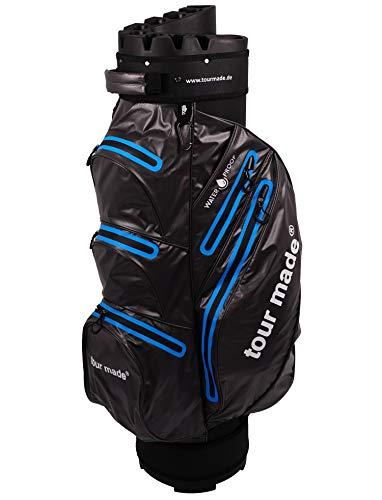b6a562cf4614 tour-made Waterproof Wasserdicht WP14 V2 Organizer Trolleybag Cart Bag  Golftasche Golfbag Modell 2019 (dunkelgrau-blau)