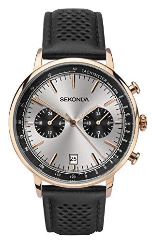 Sekonda 1695 Montre chronographe pour Homme avec Bracelet en Cuir Noir