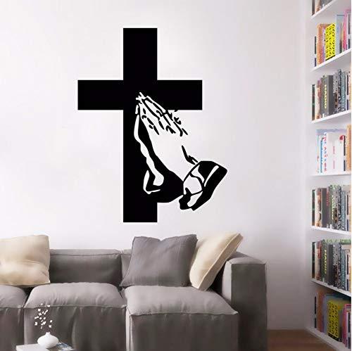 Wuyyii Kreuz Design Wandtattoo Jesus Anhänger Applaudieren Wandaufkleber Home Wohnzimmer Decor Removable Vinyl Religion Wand Poster42X55Cm