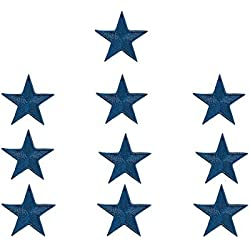 Set di 10stelle blu ricamato applique Sew Iron On patch