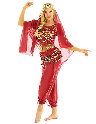 Tanz Kostüm Indischer Frauen - YOOJIA Damen Bauchtanz Kostüm Set Indische Tanz Kleidung mit Münzen 4-teilig, mit Oberteil, Hose, Hüftschal, Schleier Karneval Kostüm Rot One Size