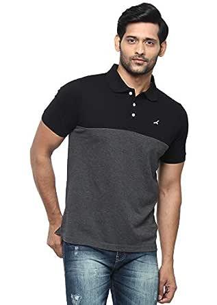 AMERICAN CREW Men's Polo Black & Charcoal Melange Stripes T-Shirt - S (AC166-S)