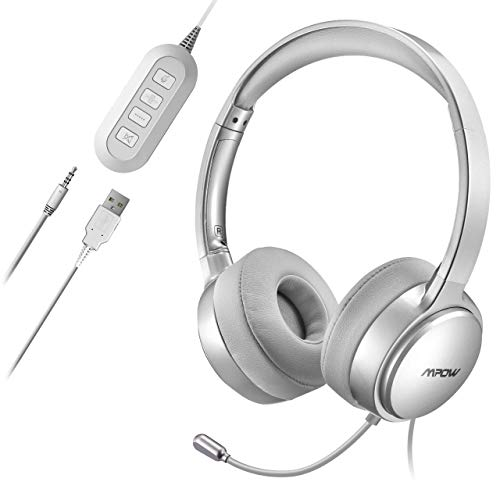 Mpow PC Headset,Klinke Headset, USB Headset & 3.5mm Chat Headset,Stereo Sound,Computer Headset mit Mikrofon,Telefon Headset für Skype Anrufe Teamspeak Mac PC Smartphone Tablet TV (Silber)