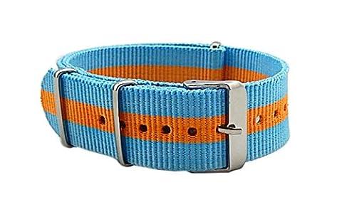 20 mm ciel de luxe bleu / orange de style casual NATO bracelets de montre en nylon doux bandes de rechange pour les hommes