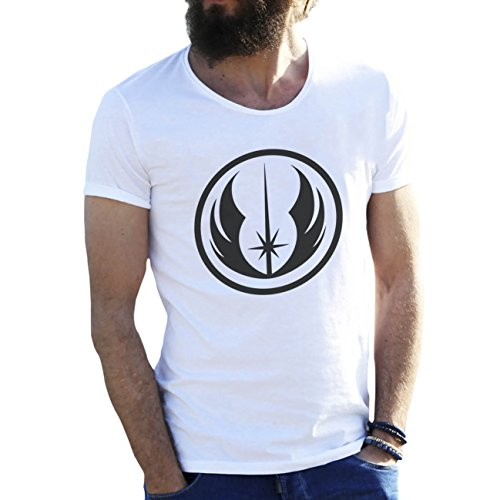 Friendly Bees Jedi Star Wars Logo Blanca Camiseta para Hombre Large