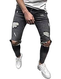 ITISME Jeanshosen Mens Skinny Stretch Denim Pants Distressed Ripped Freyed Slim Fit Jeans TrousersHerren Leinenhose Leinen Hose Loose Freizeit Flachs Kordelzug Hosen Pants
