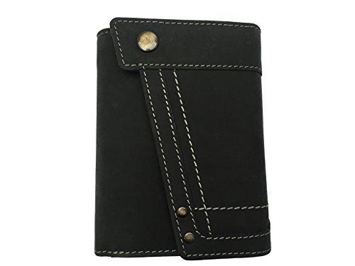 Edle Damen Leder Geldbörse Damen Portmonnaie Damen Geldbeutel aus weichem Wasserbüffel Leder (schwarz)
