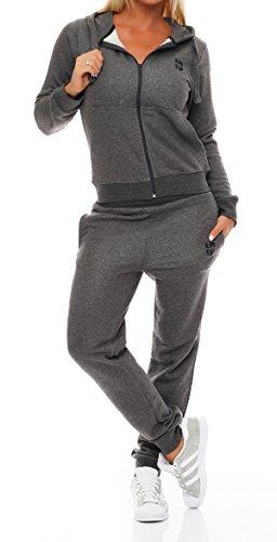 Gennadi Hoppe Damen Jogginganzug Trainingsanzug Sportanzug, grau,4XL