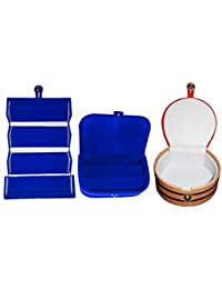 Afrose Combo 1 Pc Blue Earring Folder 1 Blue Ear Ring Box And 1 Pc Bangle Box Jewelry Vanity Case