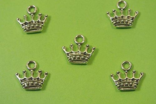 LOT 5 BRELOQUES/CHARMS METAL argenté : couronne 14 * 13 mm