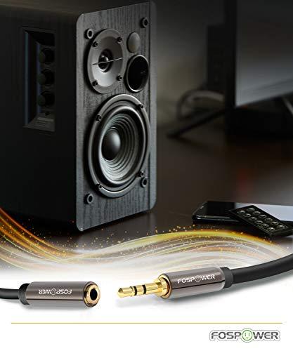 FosPower Stereo Audio Klinken Kabel Adapter Verlängerungskabel (0,9m) Verlängerung für AUX Eingänge 3.5mm Stecker auf 3,5 mm Buchse [Vergoldete Kontakte] für Audio iPhone, iPod, iPad, MP3-Player, Kopfhörer, Lautsprecher, Android Smartphones, Tablets – Schwarz - 4